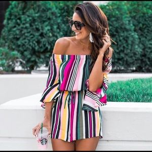 Express | Striped Off The Shoulder Romper XS